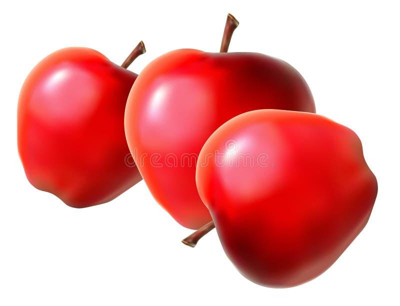 Drei rote Äpfel lizenzfreie abbildung
