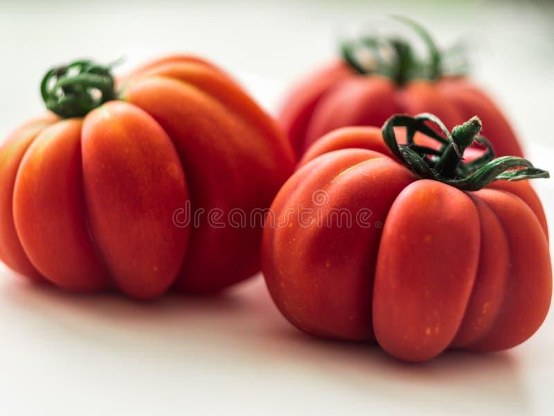 Drei rote Beefsteaktomaten stockbilder