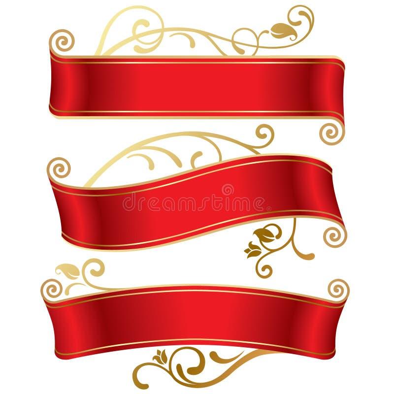 Drei rote Fahnen lizenzfreie abbildung