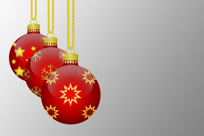Drei rote hängende Weihnachtsbaumbälle mit Schneeflocken und Sternverzierungen auf einem grauen Hintergrund stock abbildung