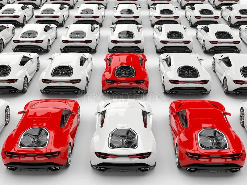 Drei rote Sportautos stehen heraus unter vielen weißen Autos lizenzfreie abbildung