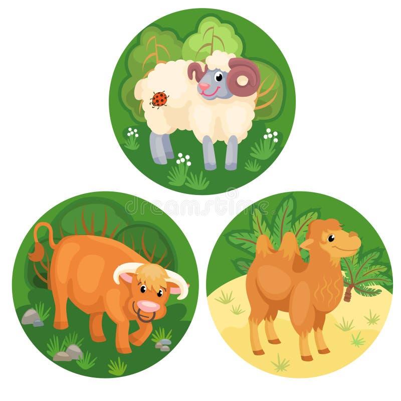 Drei runde Fahnen mit Vieh stock abbildung