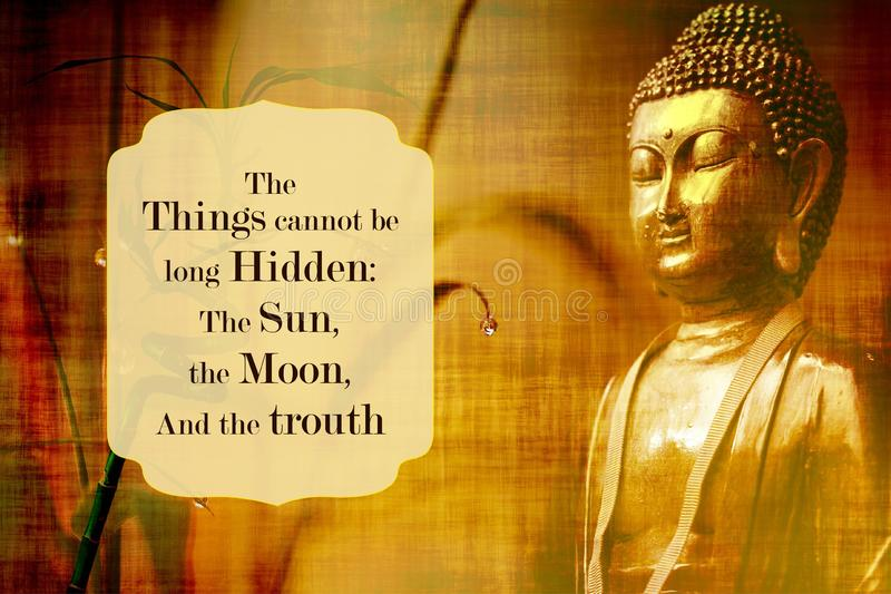 Drei Sachen können nicht lang versteckt werden der Sonne, dem Mond und die Wahrheit stock abbildung