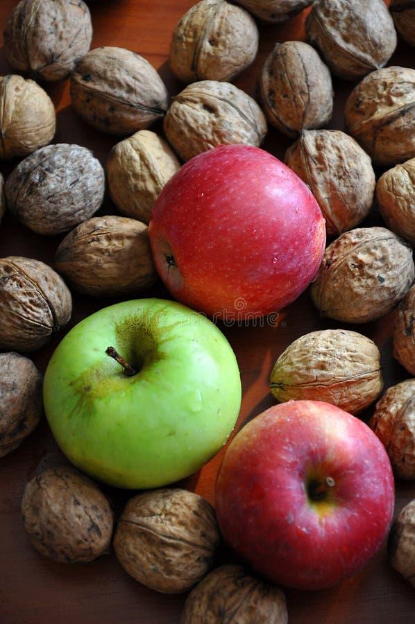 Drei saftige Äpfel und Walnüsse lizenzfreie stockfotos
