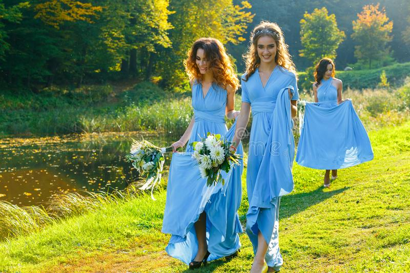 Drei schöne Brautjungfern lizenzfreies stockbild
