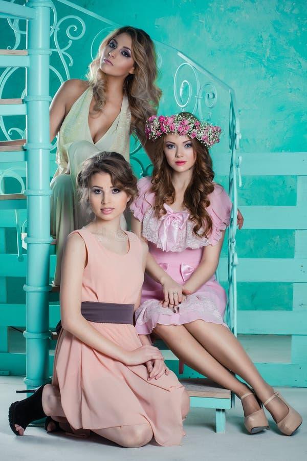 Drei schöne junge Frauen stockbild