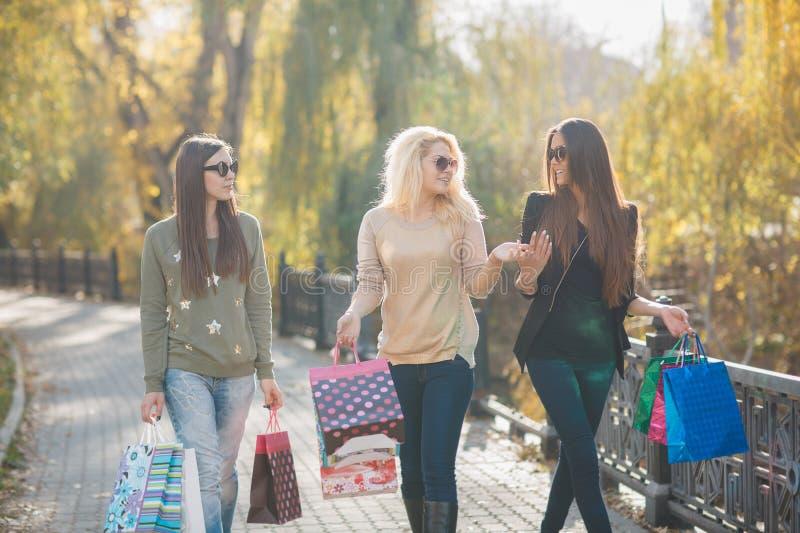 Drei schöne junge Frauen mit Einkaufstaschen lizenzfreie stockbilder