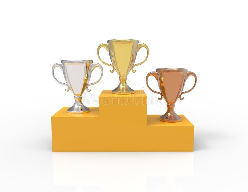 Drei Schalentrophäen, -gold, -silber und -bronze stock abbildung