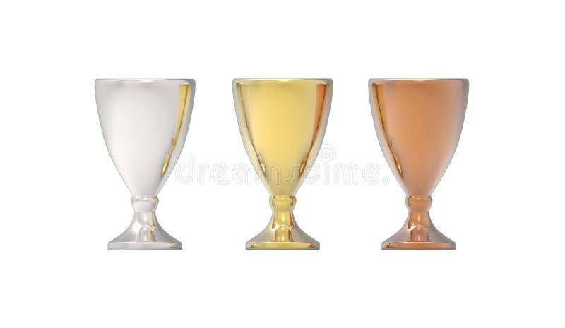 Drei Schalentrophäen, -gold, -silber und -bronze lizenzfreie abbildung
