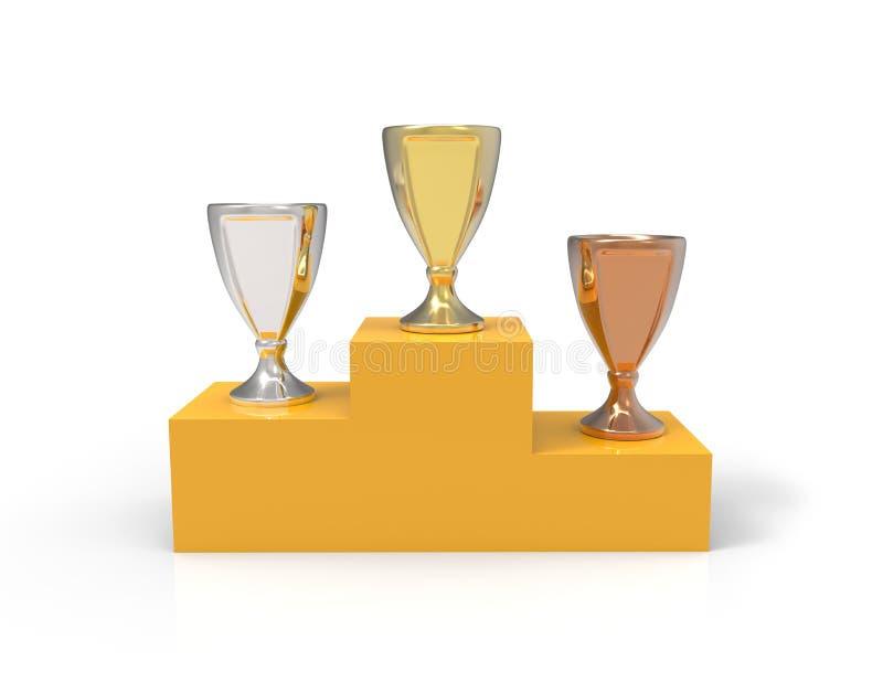 Drei Schalentrophäen - Gold, Silber und Bronze auf der Basis lizenzfreie abbildung
