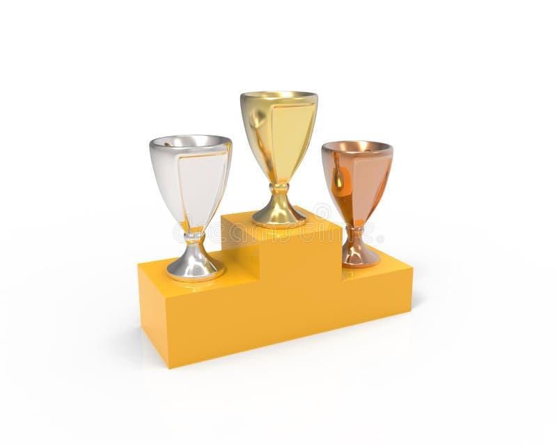 Drei Schalentrophäen - Gold, Silber und Bronze auf der Basis vektor abbildung