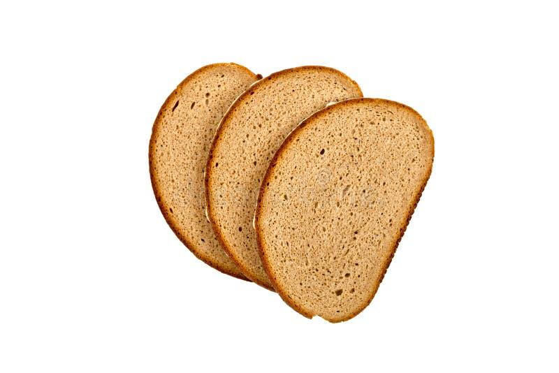 Drei Scheiben des frischen Brotes lokalisiert auf weißem Hintergrund stockbilder