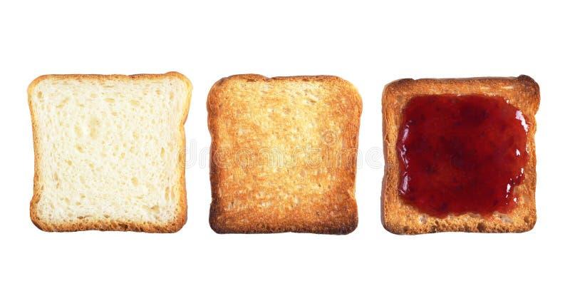Drei Scheiben Toastbrot stockfotografie