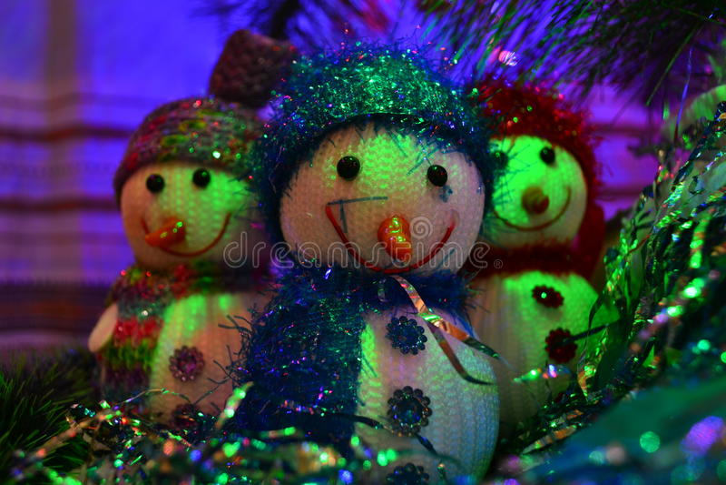 Drei Schneemänner stockbilder