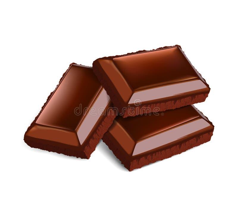 Drei Schokoladen-Stücke stock abbildung