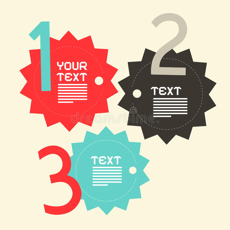 Drei Schritte tapezieren flaches Design Vektor Infographics lizenzfreie abbildung