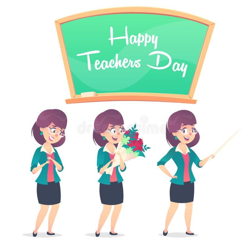 Drei Schullehrerhaltungen und -tafel Glücklicher Lehrertag lizenzfreie stockbilder