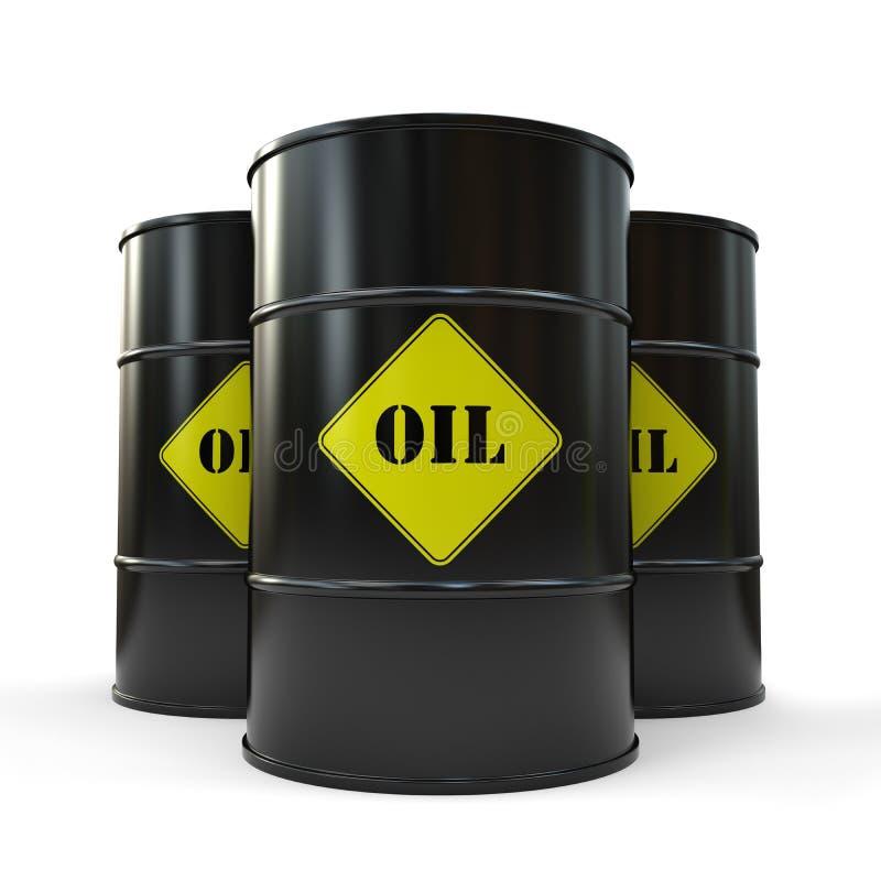 Drei schwarze Ölbarrel lokalisiert auf weißem Hintergrund stock abbildung
