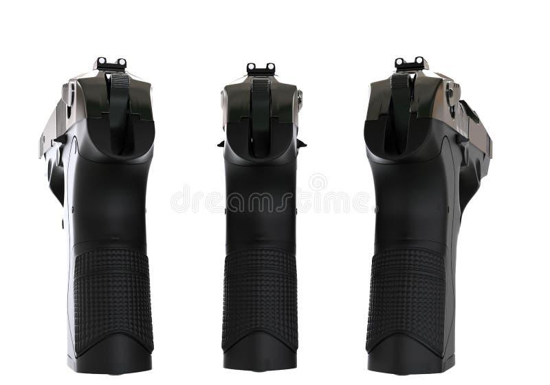 Drei schwarze halb automatische Pistolen - hintere Ansicht lizenzfreie stockbilder
