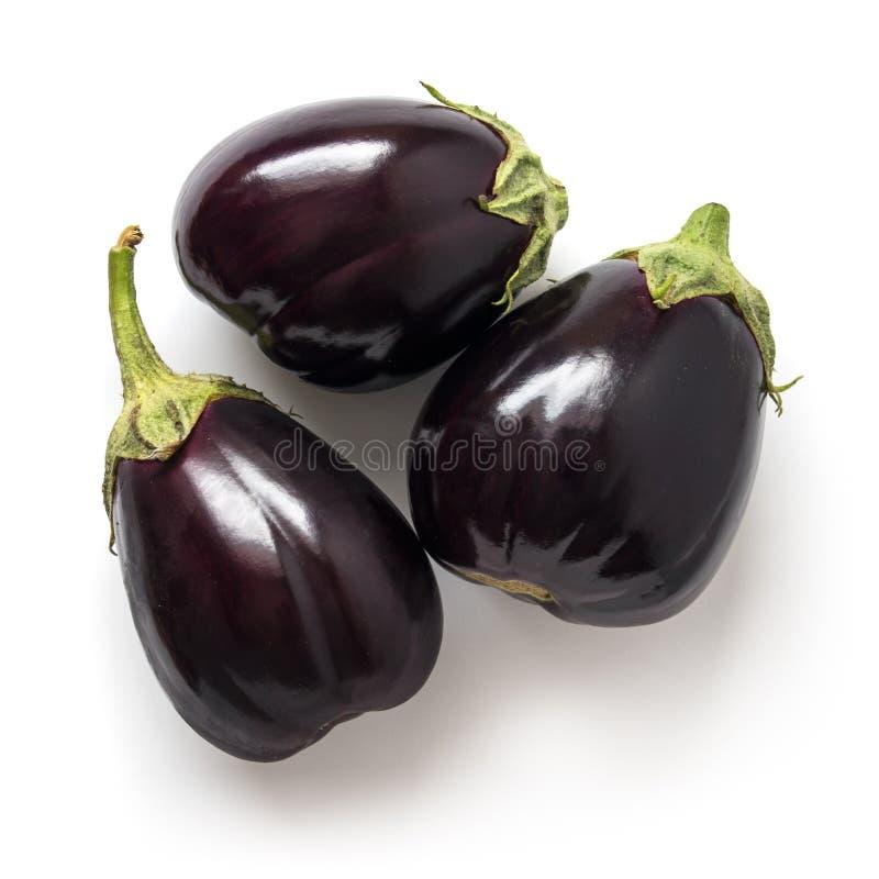 Drei schwarze organische Auberginen stockbilder