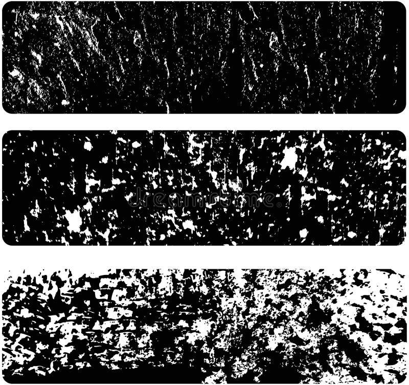 Drei schwarze Schmutzfahnen stock abbildung