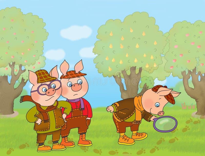 Drei Schweine lizenzfreie abbildung