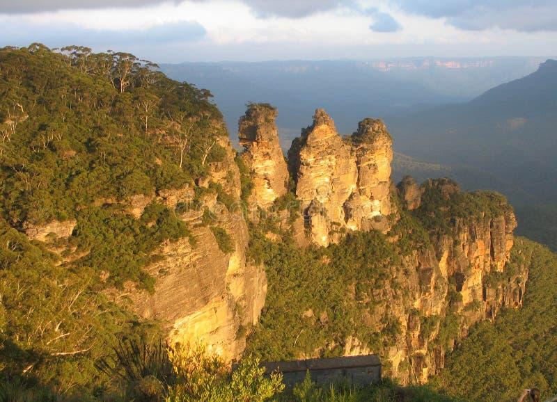 Drei Schwestern Blau-Berge lizenzfreie stockfotografie