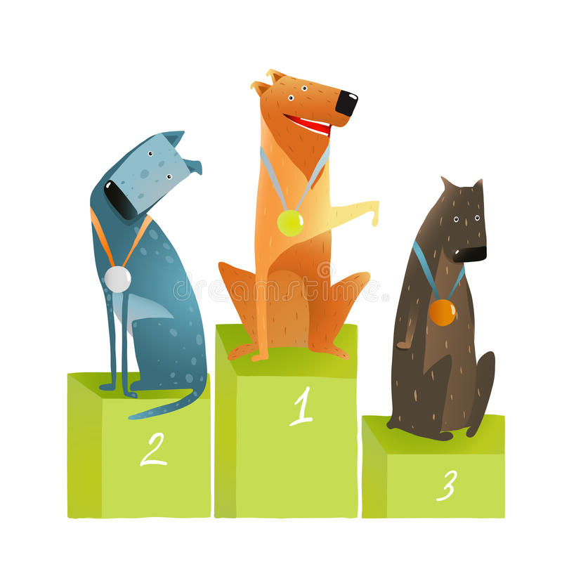 Drei Sieger-Hunde, die auf Podium mit Medaillen sitzen lizenzfreie abbildung