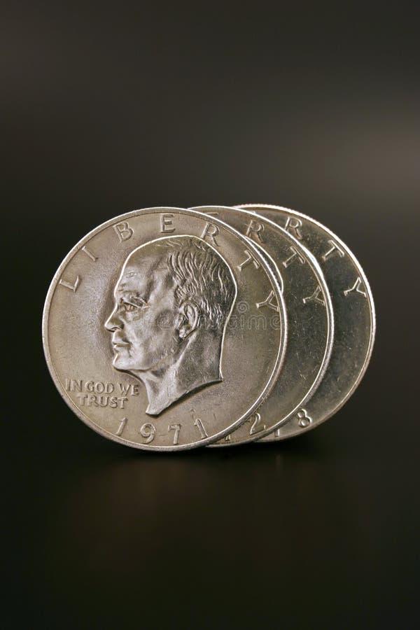 Drei silberne Dollar lizenzfreie stockbilder