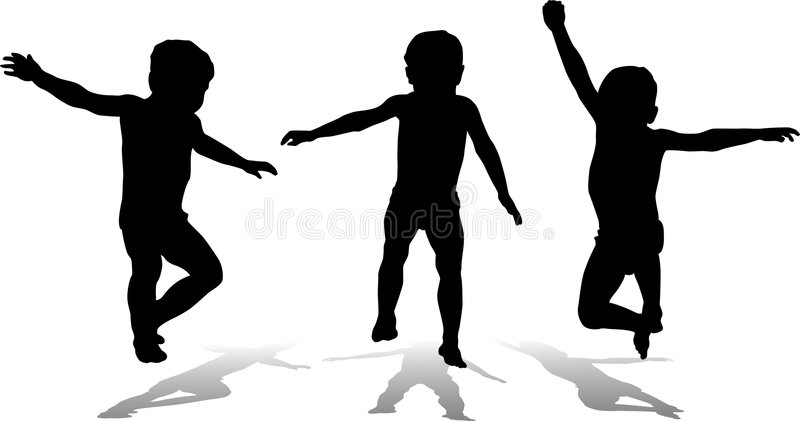 Drei springende Kinder, Vektor lizenzfreie abbildung