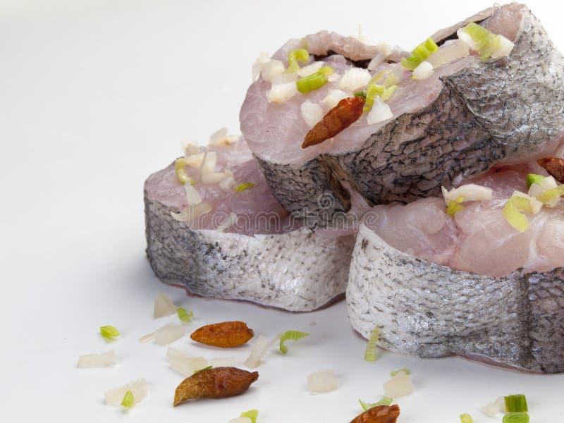 Drei Stücke frische Hechtdorsche gemischt mit Schnittlauchen und würzigen Paprikas 2 stockbild