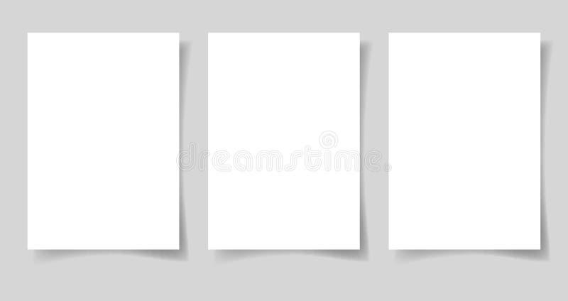 Drei Stücke Leerbeleg des Formats des Weißbuches A4 lizenzfreie abbildung