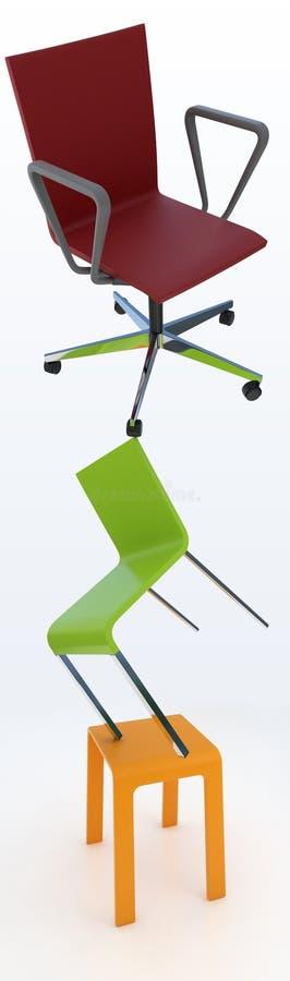 Drei Stühle stock abbildung