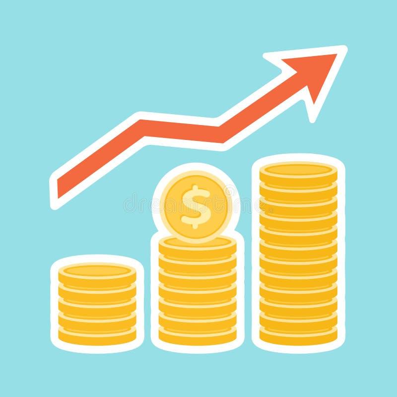Drei Stapel von Goldmünzen, herauf Pfeil mit weißem Anschlag Einsparungen, Investitionen, Gewinn-Wachstum, Einkommen lizenzfreie abbildung