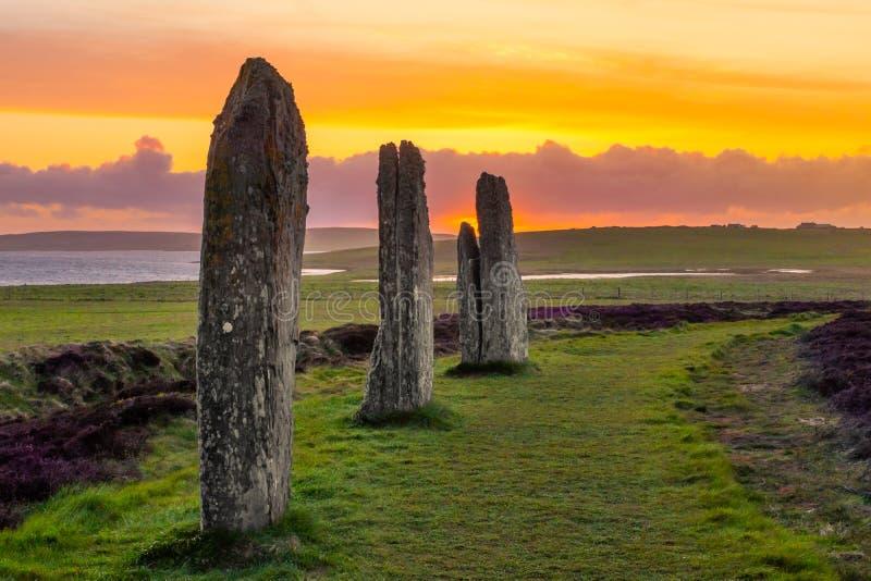 Drei stehende Steine des Ringes von Brodgar stockbild