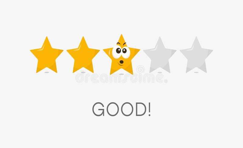 Drei Sterne gut, Symbol veranschlagend lizenzfreie abbildung