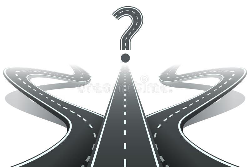 Drei Straßen und Fragezeichen Wählen des Rechtes lizenzfreie abbildung
