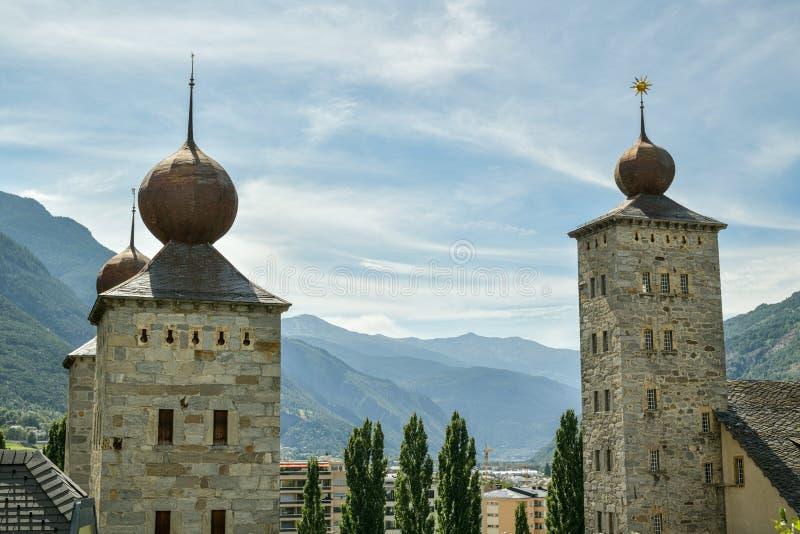 Drei Türme des Stockalper-Schlosses in Brig, Schweiz lizenzfreies stockfoto