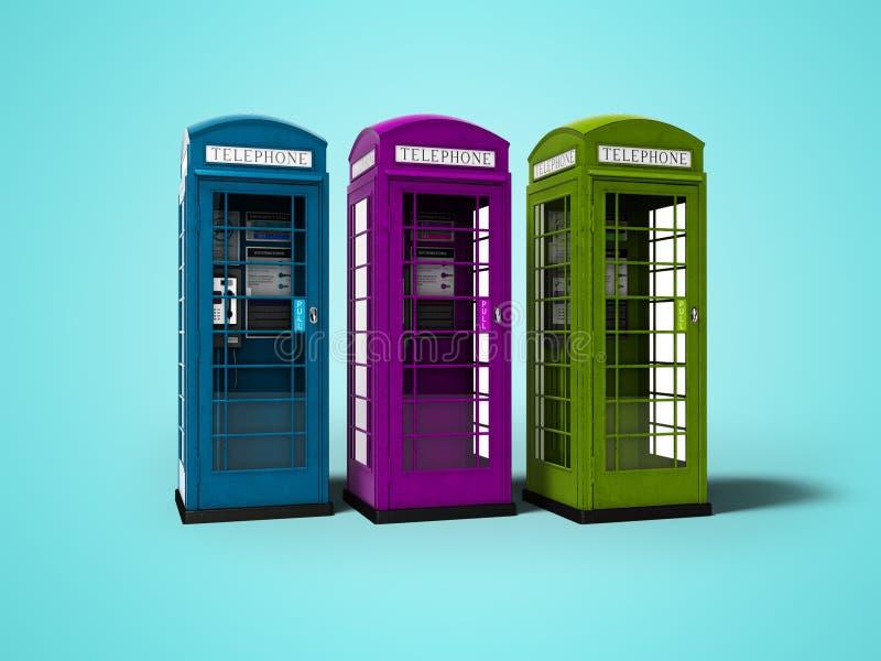 Drei Telefonzellen für auf blauem Hintergrund mit, Schatten zu übertragen die Unterhaltung für Geld 3d stock abbildung