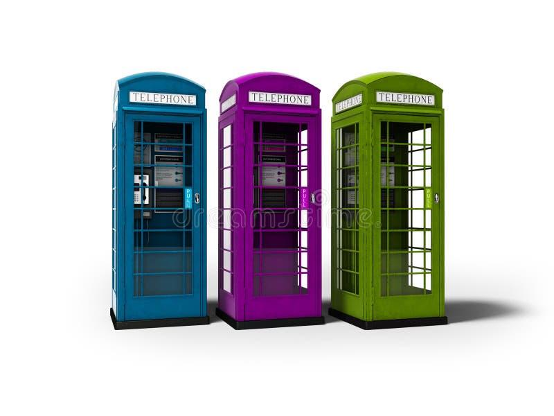 Drei Telefonzellen für auf weißem Hintergrund mit, Schatten zu übertragen die Unterhaltung für Geld 3d lizenzfreie abbildung
