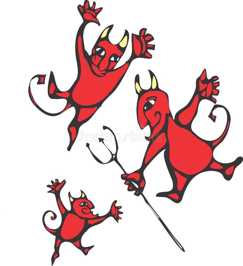 Drei Teufel stock abbildung