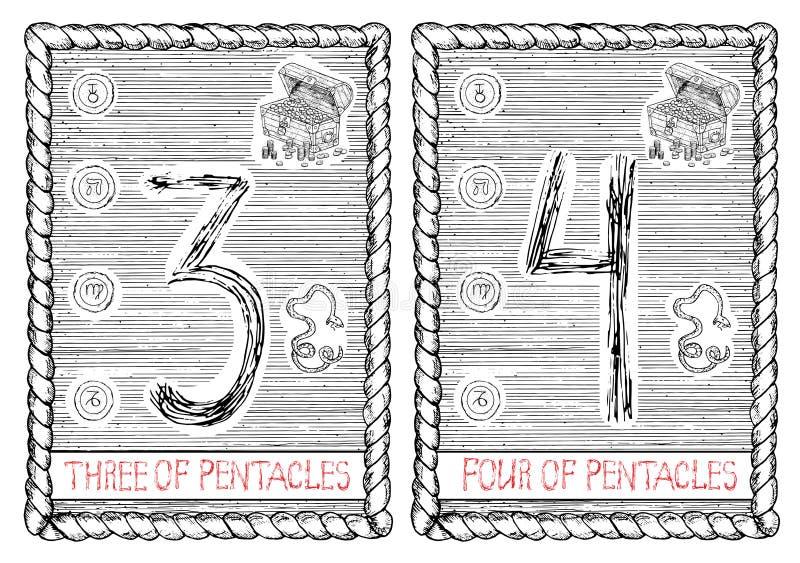 Drei und vier von Pentacles Die Tarockkarte vektor abbildung
