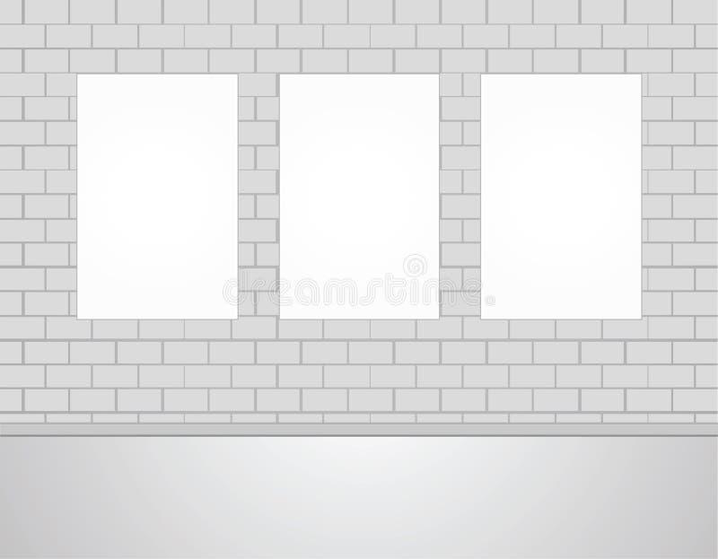 Drei Vektor-leerer leerer Weiß-Spott herauf Poster-Bilder auf einer Wand lizenzfreie abbildung