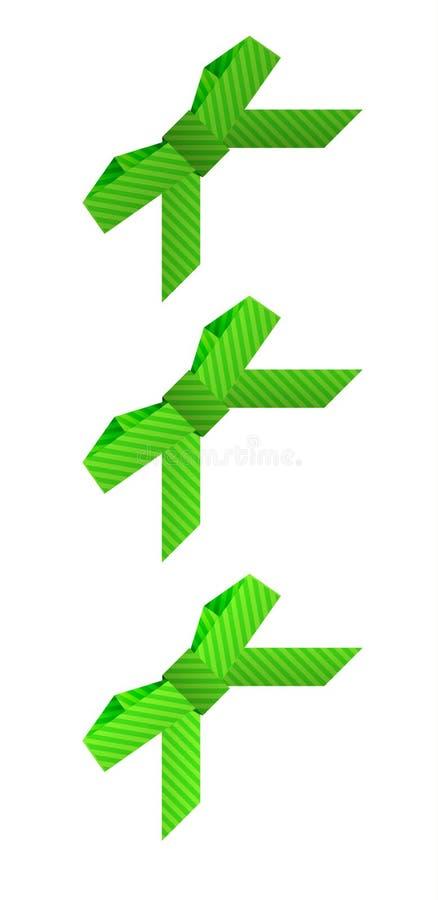 Drei verschiedene grüne gestrichelte Bögen lizenzfreie abbildung