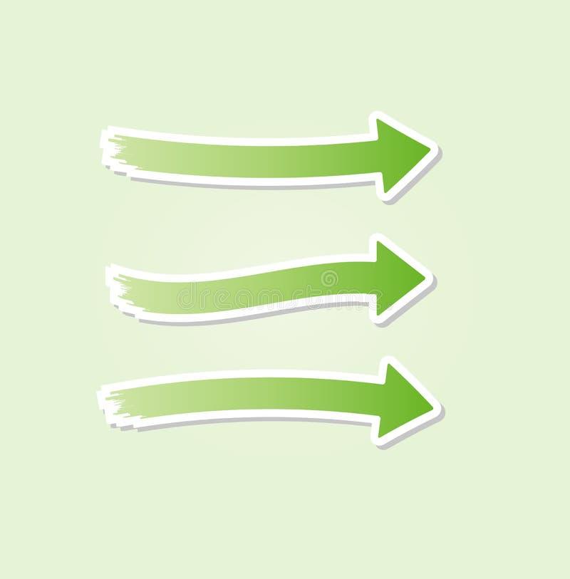 Drei verschiedene grüne Pfeile lizenzfreie abbildung