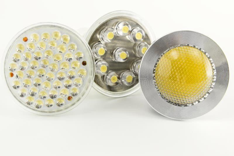 Drei verschiedene Optik für Glühlampen LED stockfotografie