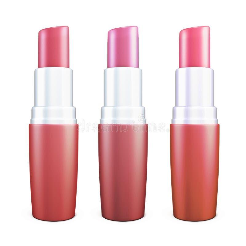 Drei verschiedene Schatten Lippenstift lokalisiert auf weißem Hintergrund lizenzfreie abbildung