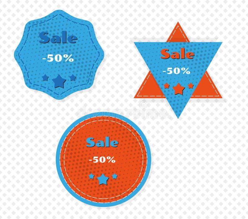 Drei verschiedene Verkaufsaufkleber stock abbildung