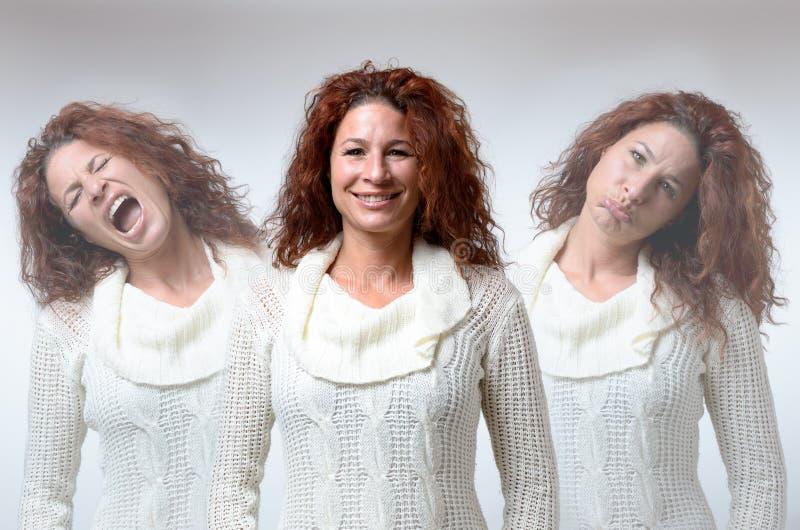 Drei Versionen der Frau in den verschiedenen Stimmungen stockbild