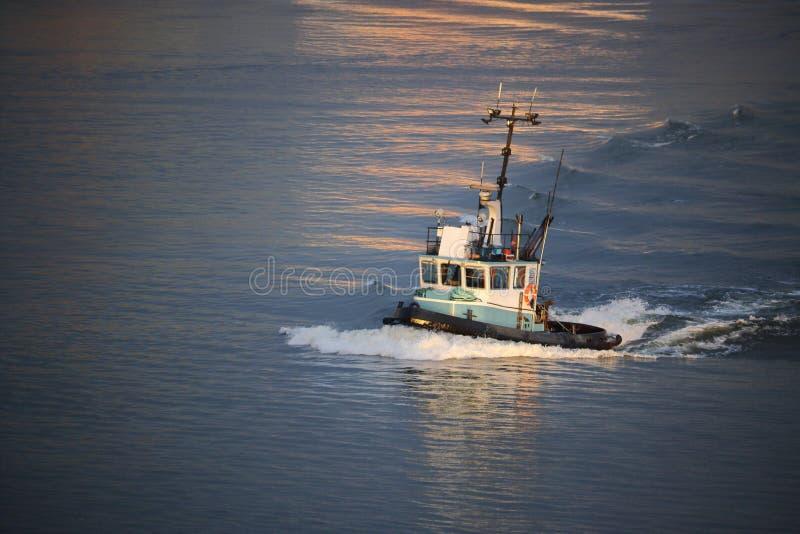 Drei Viertel-Profil von Tug Boat auf Fluss lizenzfreie stockfotografie